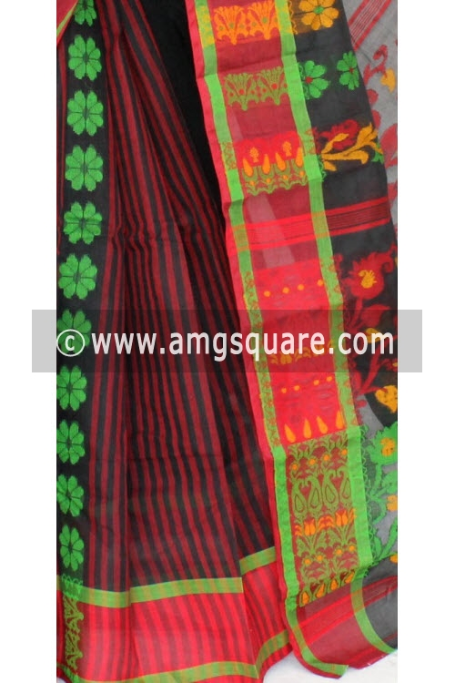 Red Black Handwoven Bengal Tant Cotton Saree (Without Blouse) 17156