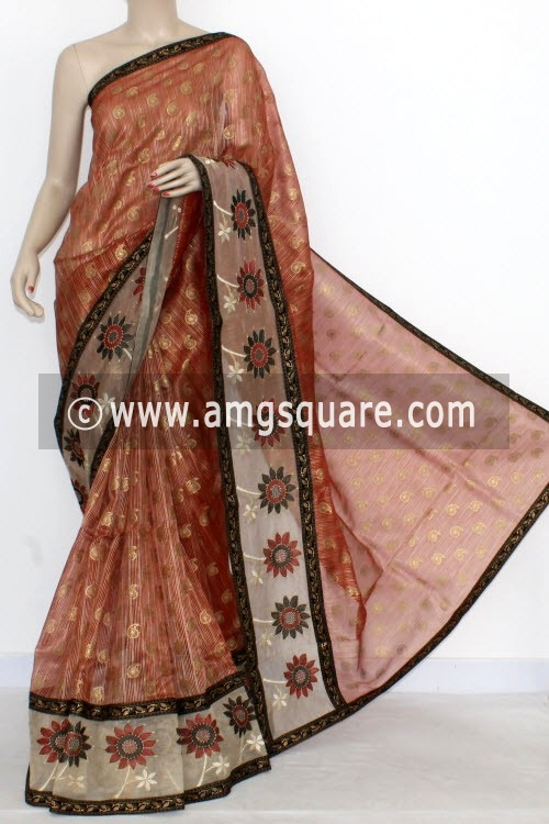 Rust Designer Supernet Embroidered Saree (With Blouse) Net Border 16153