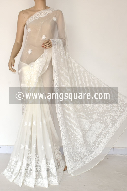 Off White Hand Embroidered Lucknowi Chikankari Saree (With Blouse - Georgette) Rich Pallu 14656