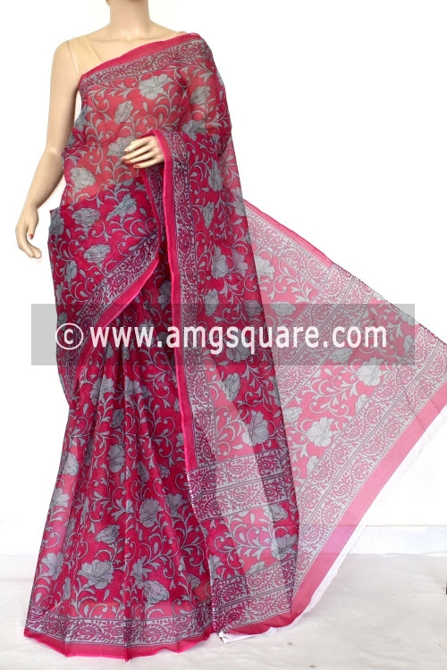 Rani Pink Grey Premium JP Kota Doria Printed Cotton Saree (without Blouse) 15415