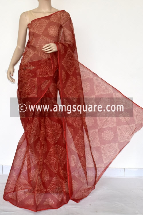 Red Chunri Print JP Kota Doria Cotton Saree (without Blouse) 13535