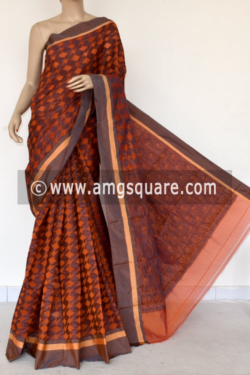 Orange Grey Handloom Banarasi Kora Saree (with Blouse) 16258