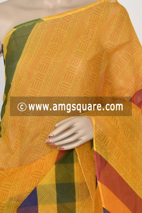 Yellow Premium JP Kota Doria Printed Cotton Saree (without Blouse) 15365