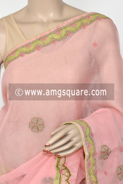 Pinkish Peach Applique Work Hand Embroidered Lucknowi Chikankari Saree (With Contrast Blouse - Cotton) 14725