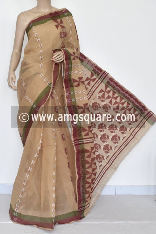 Fawn Handwoven Bengal Tant Cotton Saree (Without Blouse) 14164