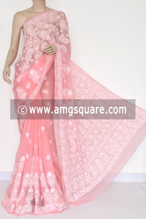 Peach Hand Embroidered Lucknowi Chikankari Saree (With Blouse - Georgette) 14823