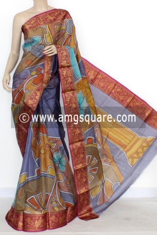 Blue Designer Handprinted Double Knitted Bishnupuri Pure Silk Saree (With Blouse) Baluchari Border 16148