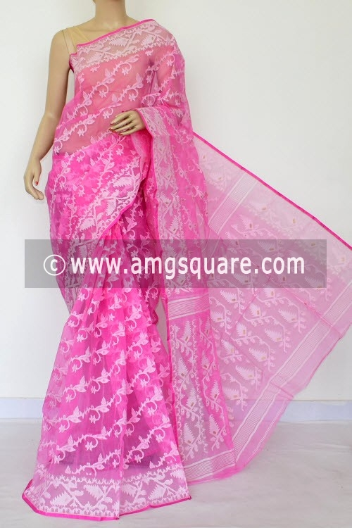Pink Jamdani Handwoven Bengal Tant Cotton Saree (Without Blouse) 17014