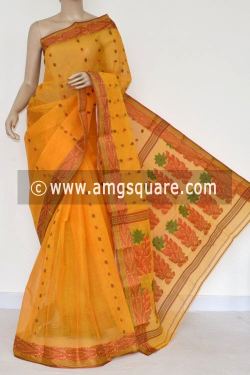 Golden Yellow Handwoven Bengal Tant Cotton Saree (Without Blouse) 14148