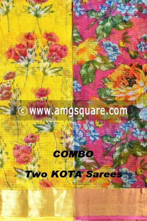 Yellow and Pink Allover Floral Printed JP Kota Sarees (Set of Two Sarees) 16002