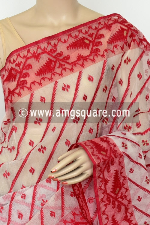 Off-White Red Jamdani Handwoven Bengal Tant Cotton Saree (Without Blouse) 17016