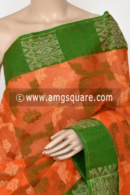 Orange Handwoven Bengal Jamdani Tant Cotton Saree (Without Blouse) 14285