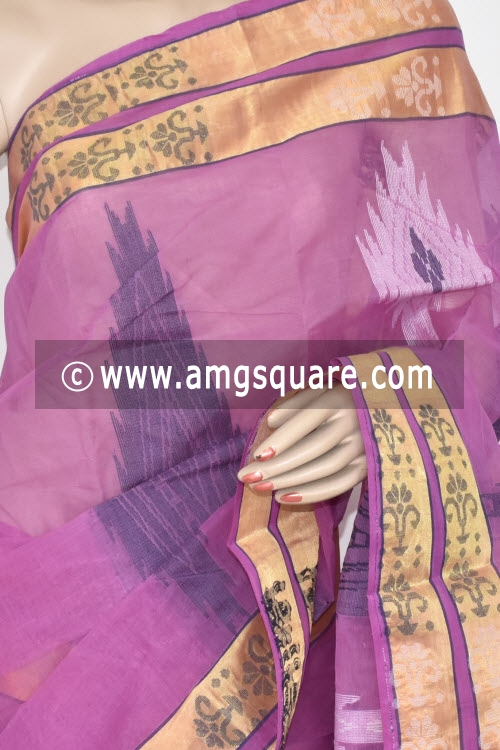 Pink Handwoven Bengal Tant Cotton Saree (Without Blouse) 17367