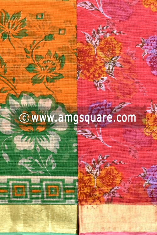 Beige and Peach Allover Floral Printed JP Kota Sarees (Set of Two Sarees) 16004
