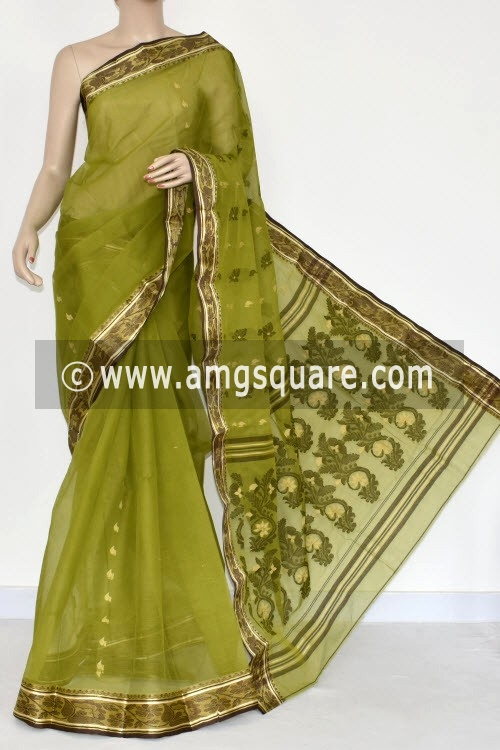Menhdi Green Handwoven Bengal Tant Cotton Saree (Without Blouse) Resham Border 14143