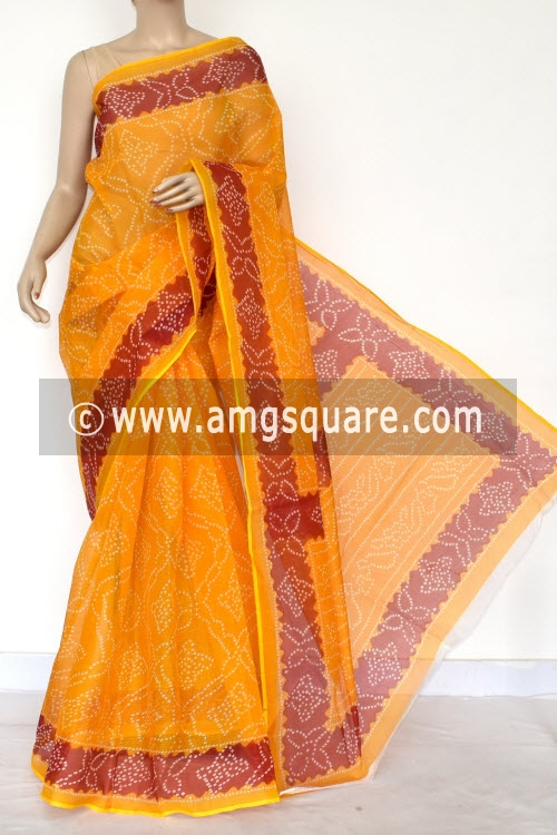 Golden Yellow Red Premium JP Kota Doria Chunri Print Cotton Saree (without Blouse) 15423