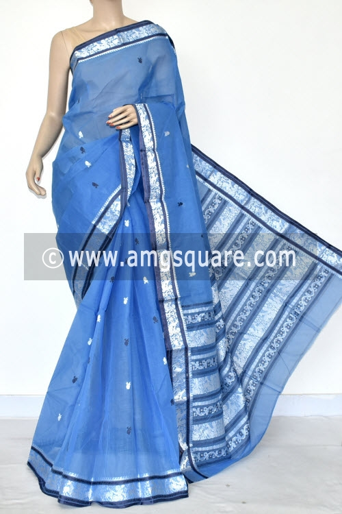 Sky Blue Handwoven Bengal Tant Cotton Saree (Without Blouse) Baluchuri Border and Pallu 17083