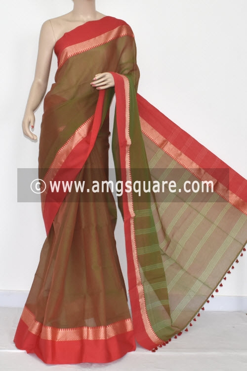 Menhdi Green Pink Handwoven Bengali Tant Soft Cotton Saree (Without Blouse) 17067