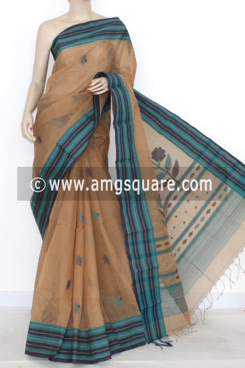 Fawn Handwoven Bengal Tant Cotton Saree (With Blouse) 17289