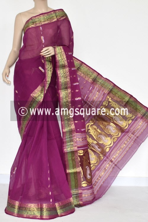 Magenta Handwoven Bengal Tant Cotton Saree (Without Blouse) Zari Border & Pallu 17135