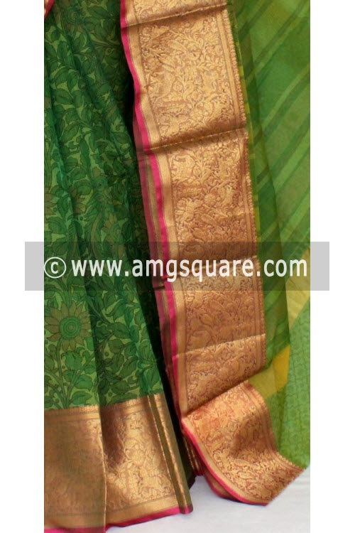 Green Banarasi Kora Cot-Silk Printed Handloom Saree (With Blouse) 16103
