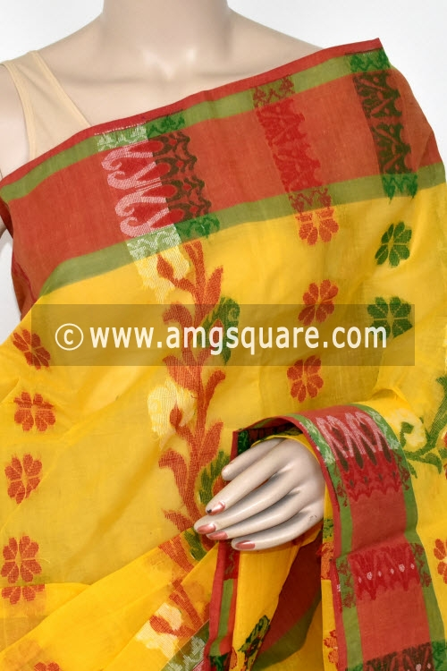 Golden Yellow Handwoven Bengal Tant Cotton Saree (Without Blouse) 17160