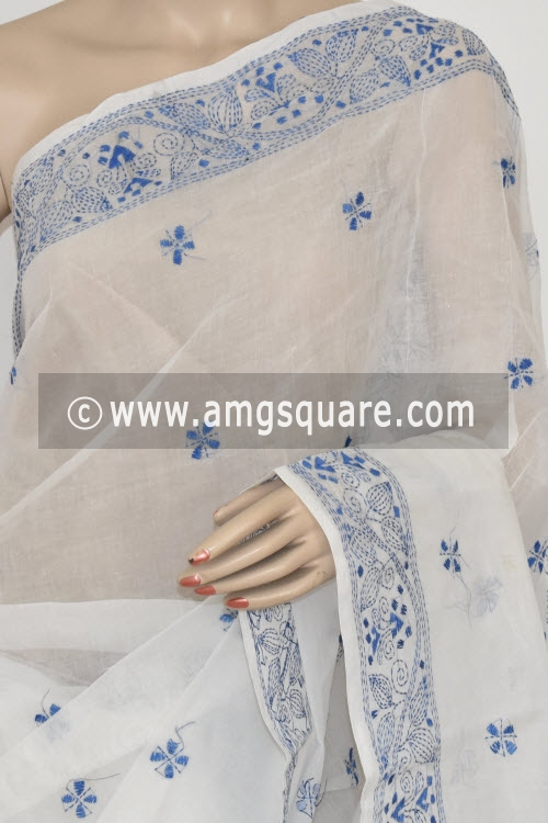 Blue Hand Embroidered Kantha Work Bengal Tant Cotton Saree (Without Blouse) 17225