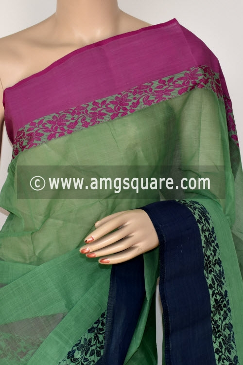 Pista Green Handwoven Bengal Tant Cotton Saree (Without Blouse) Ganga Yamuna Border 17060