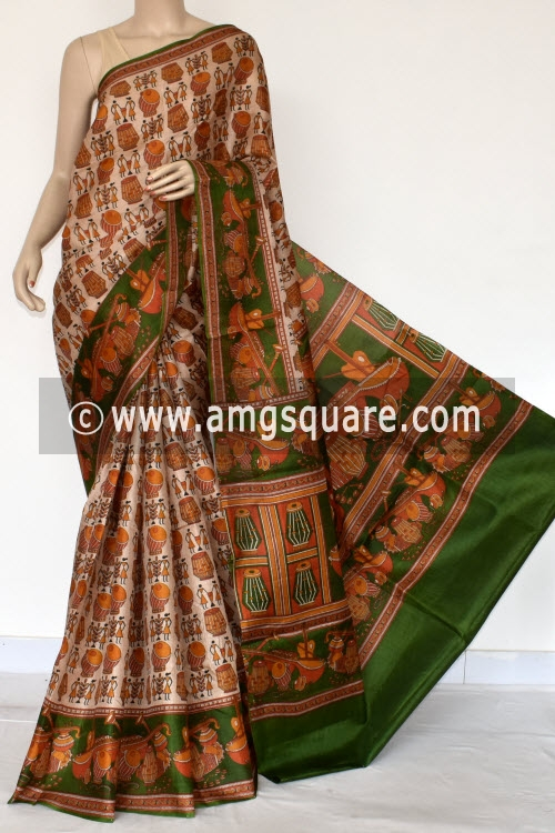 Mustared Green Tusser Art Silk Printed Saree (With Blouse) 13443