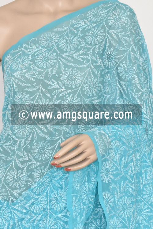 Pherozi Blue Allover Tepchi Work Hand Embroidered Lucknowi Chikankari Saree (With Blouse - Georgette) 14826
