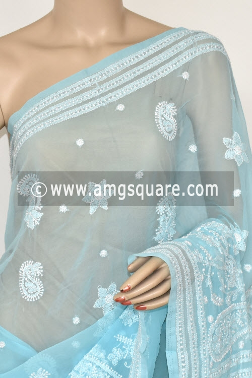 Light Blue Hand Embroidered Lucknowi Chikankari Saree (With Blouse - Georgette) 14477