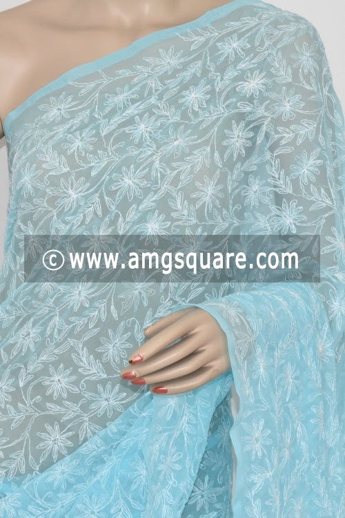 Sky Blue Hand Embroidered Allover Tepchi Work Lucknowi Chikankari Saree (With Blouse - Georgette) 14835