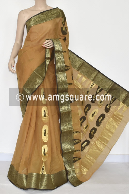 Fawn Handwoven Bengal Tant Cotton Saree (Without Blouse) Zari Border 17339