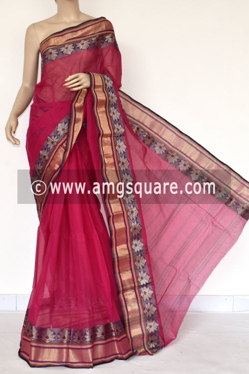 Rani Pink Handwoven Bengali Tant Cotton Saree (Without Blouse) 14250