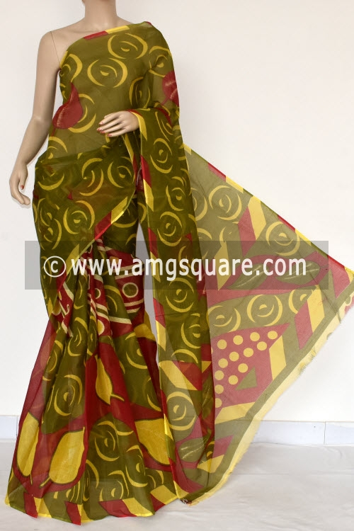 Menhdi Green Premium JP Kota Doria Printed Cotton Saree (without Blouse) 15386