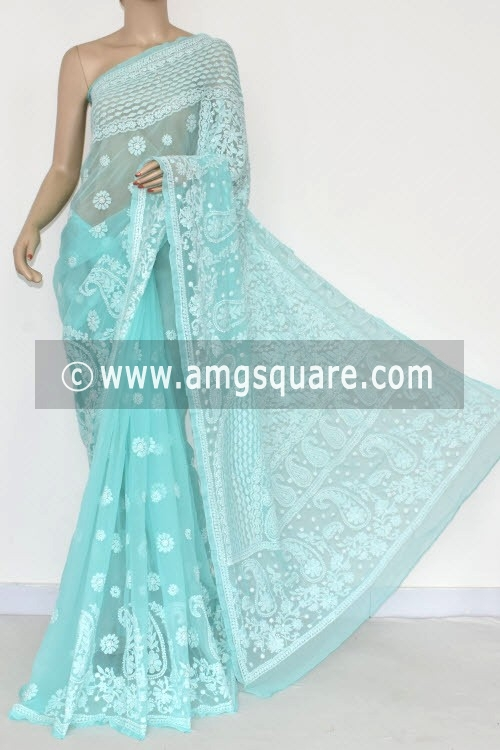 Sea Green Designer Hand Embroidered Lucknowi Chikankari Saree (With Blouse - Georgette) 14472