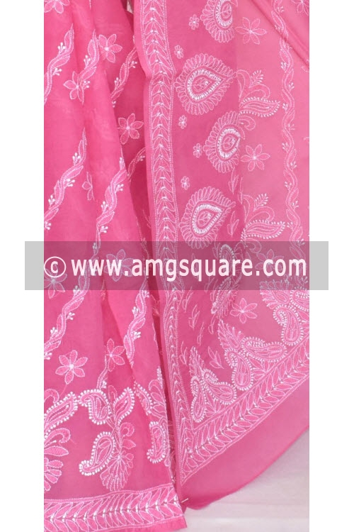 Rani Pink Allover Hand Embroidered Lucknowi Chikankari Saree (With Blouse - Cotton) 14676