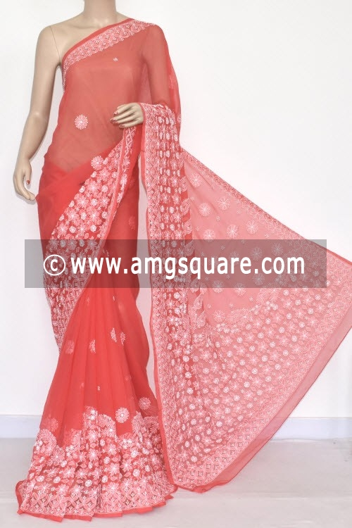 Rust Hand Embroidered Lucknowi Chikankari Saree (With Blouse - Georgette) 14425