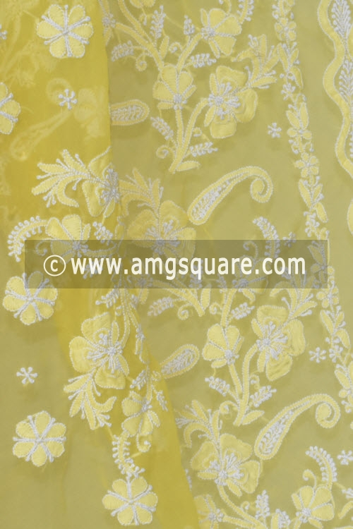 Golden Yellow Hand Embroidered Lucknowi Chikankari Saree (With Blouse - Georgette) 14613