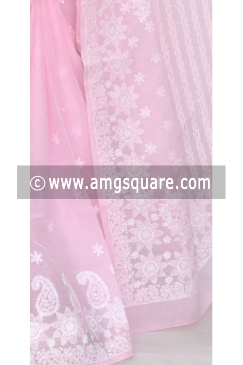 Baby Pink Hand Embroidered Lucknowi Chikankari Saree (With Blouse - Cotton) 14554