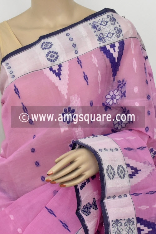 Light Pink Handwoven Bengal Tant Cotton Saree (Without Blouse) 14153