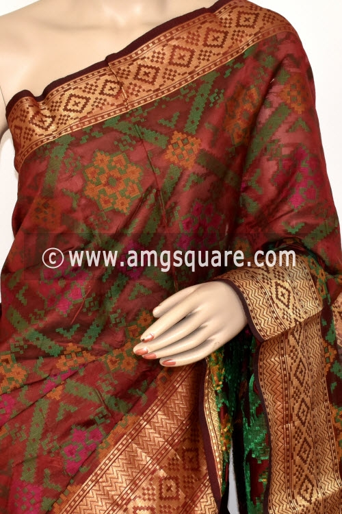 Maroon Handloom Banarasi Kora Saree (with Blouse) Allover Resham Weaving 16237