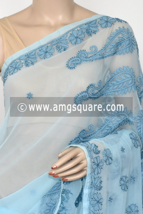 Sky Blue Designer Hand Embroidered Lucknowi Chikankari Saree (With Blouse - Georgette) 14620