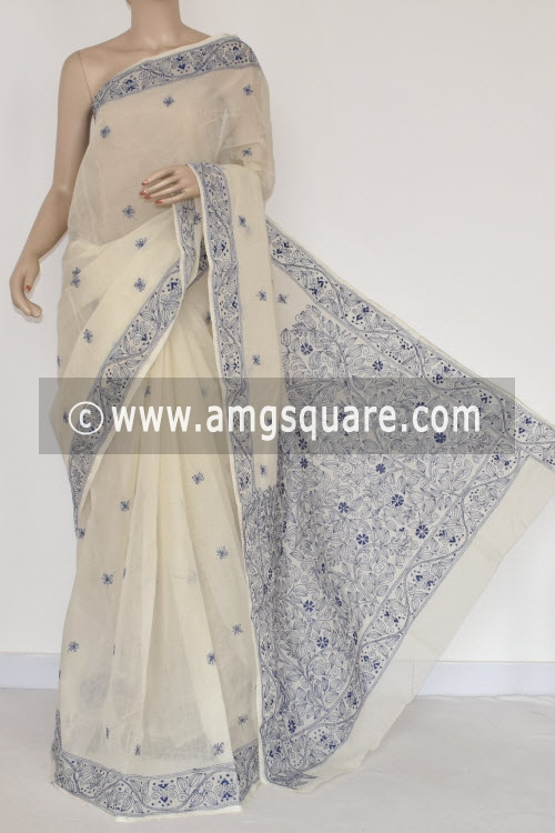 Blue Hand Embroidered Kantha Work Bengal Tant Cotton Saree (Without Blouse) 17228
