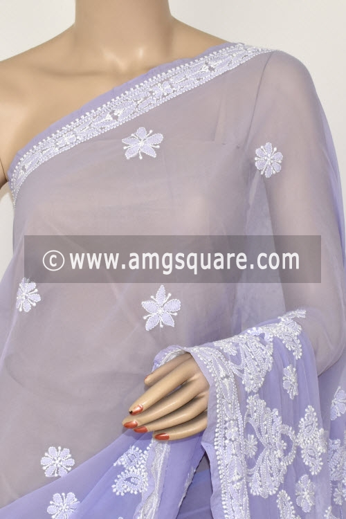 Lavender Hand Embroidered Lucknowi Chikankari Saree (With Blouse - Georgette) 14468