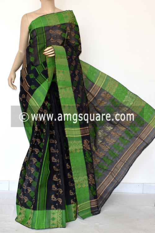 Navy Blue Handwoven Bengal Jamdani Tant Cotton Saree (Without Blouse) 14293