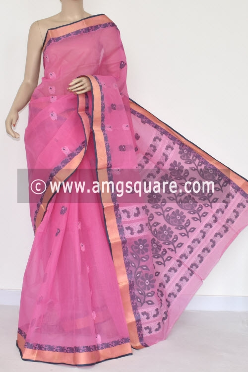 Pink Handwoven Bengal Tant Cotton Saree (Without Blouse) 17376