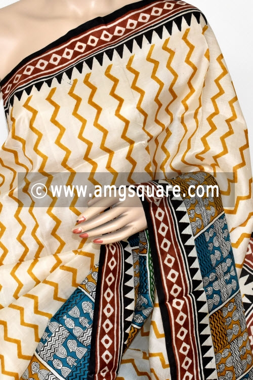 Off White Handloom Pure Silk Saree (With Blouse) 17275