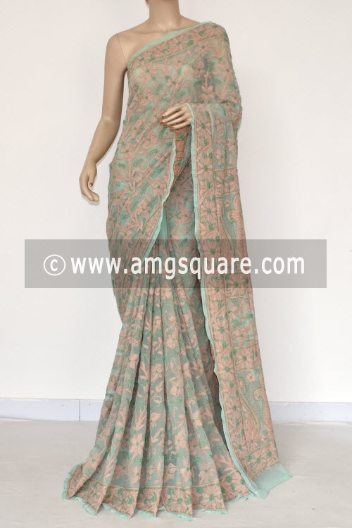 Sea Green Allover Multi-color Hand Embroidered Lucknowi Chikankari Saree (With Blouse - Georgette) 14841