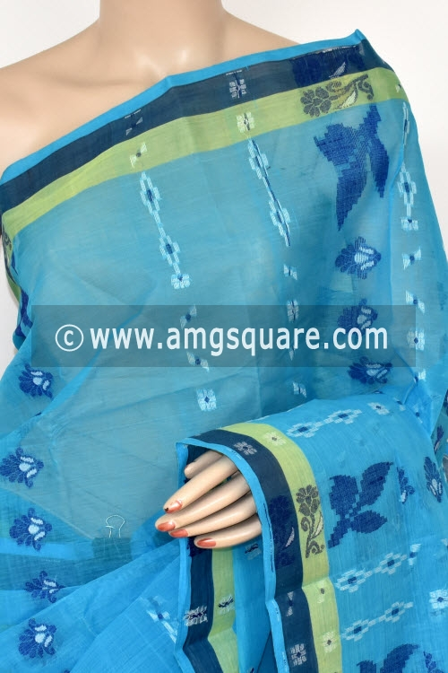 Pherozi Blue Handwoven Bengali Tant Cotton Saree (Without Blouse) 14055